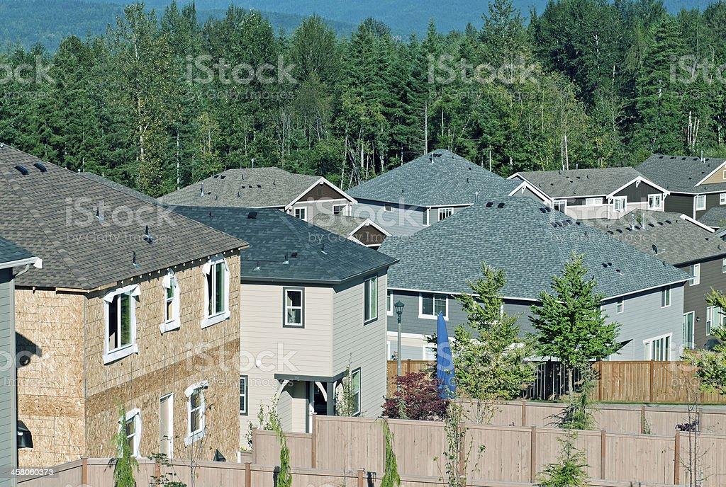 House under construction in suburban housing development royalty-free stock photo