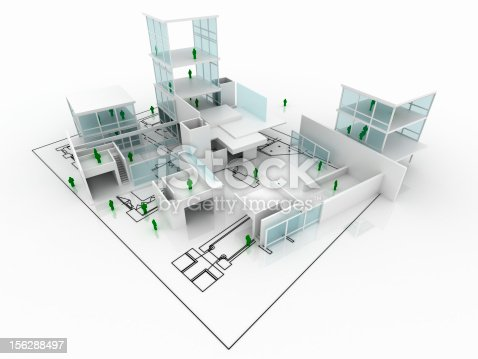 istock House under construction with blueprint isolated on white 156288497