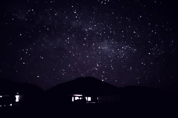 House under the stars of the Salar of Uyuni, Bolivia stock photo