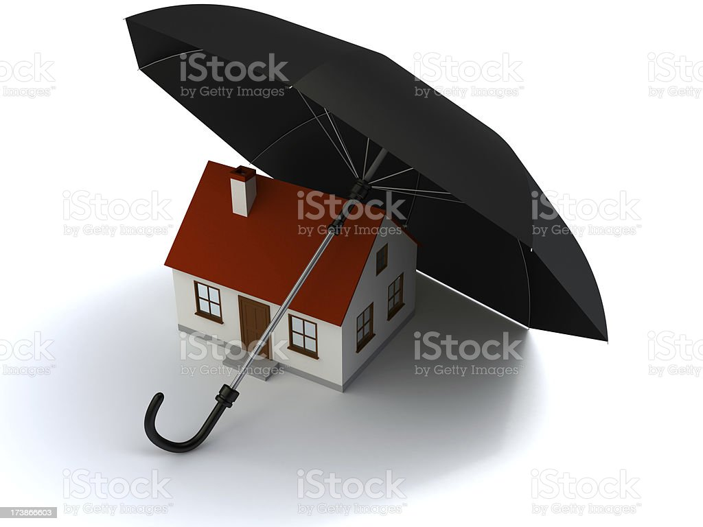 House under umbrella stock photo