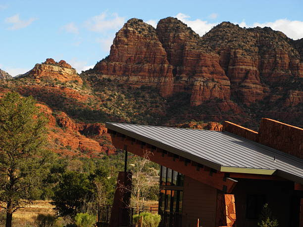 house  view red rock sedona arizona - outcrop stock pictures, royalty-free photos & images
