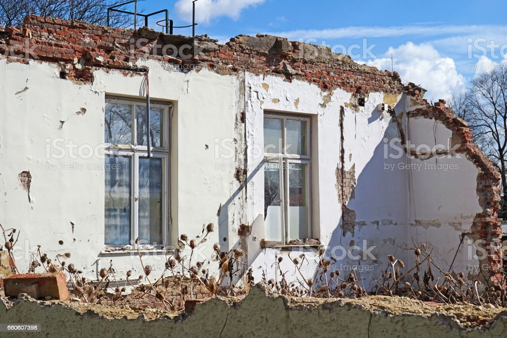 House wall under demolition royalty-free stock photo