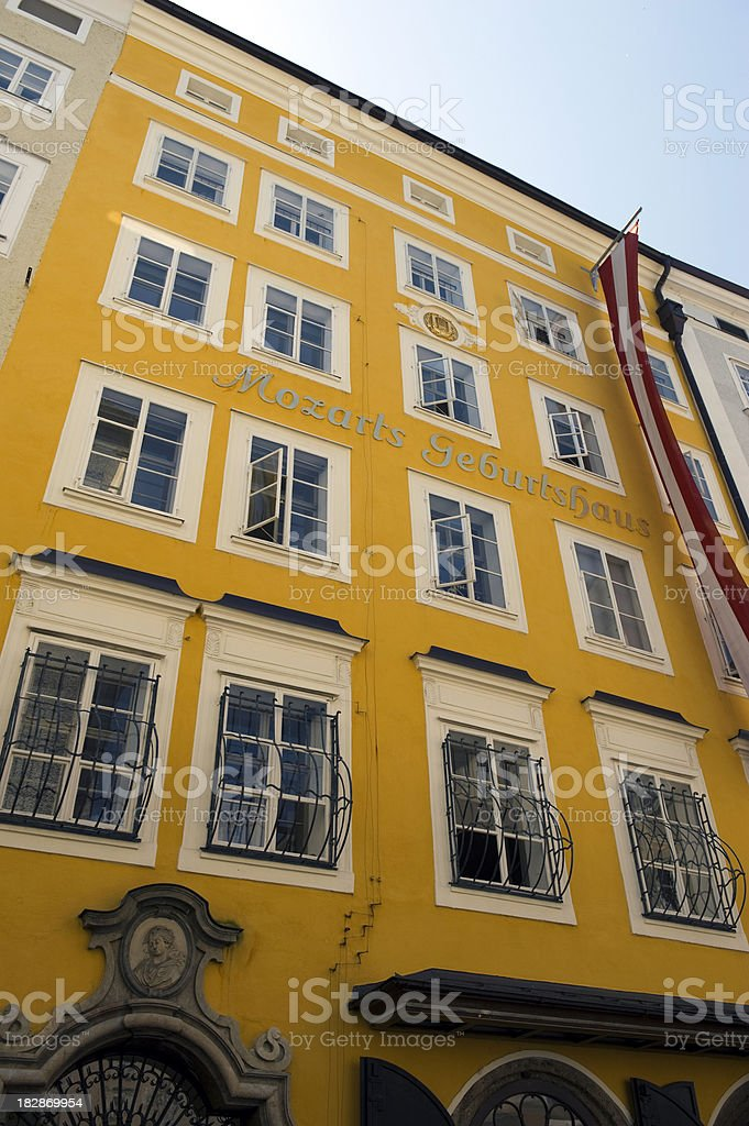 House where Mozart was born, Salzburg stock photo