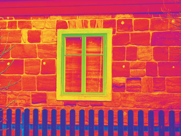 House window in thermography measurement scan. stock photo