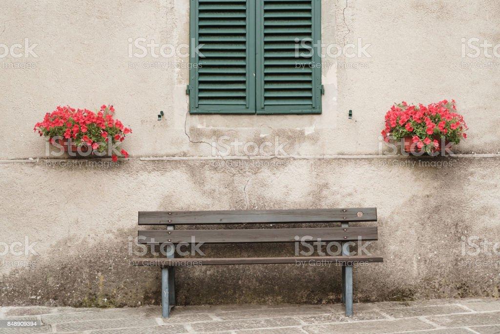 house window on the public street stock photo