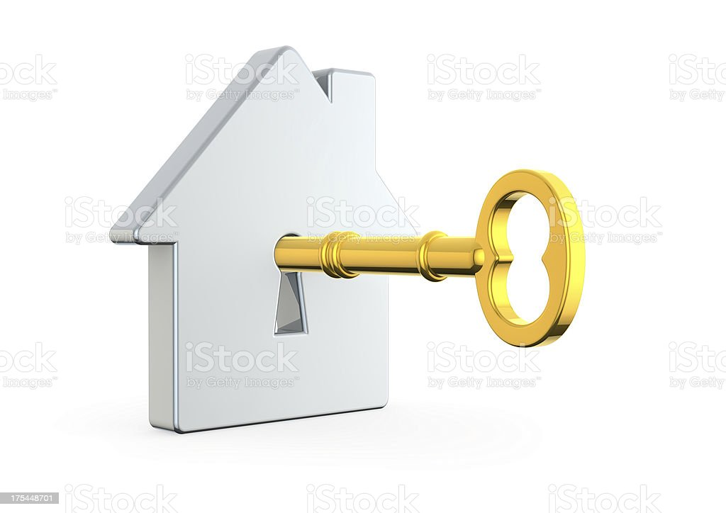 house with a golden key royalty-free stock photo