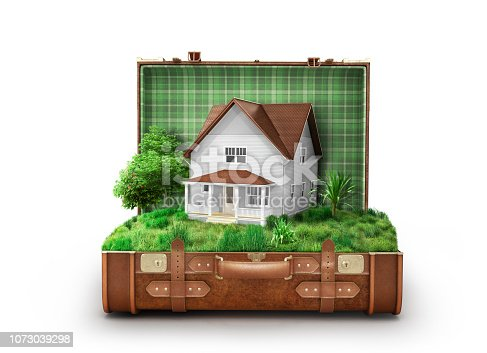 istock House with a lawn in an open suitcase isolated on white background 1073039298