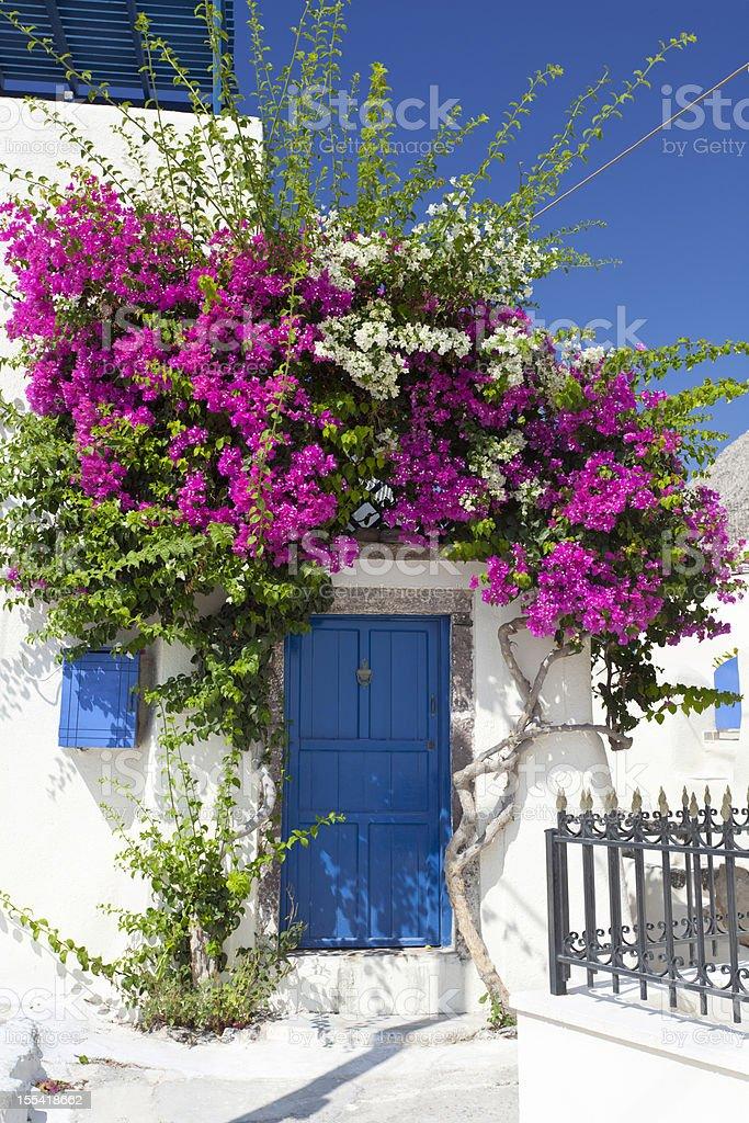 House With Bougainvillea, Santorini stock photo