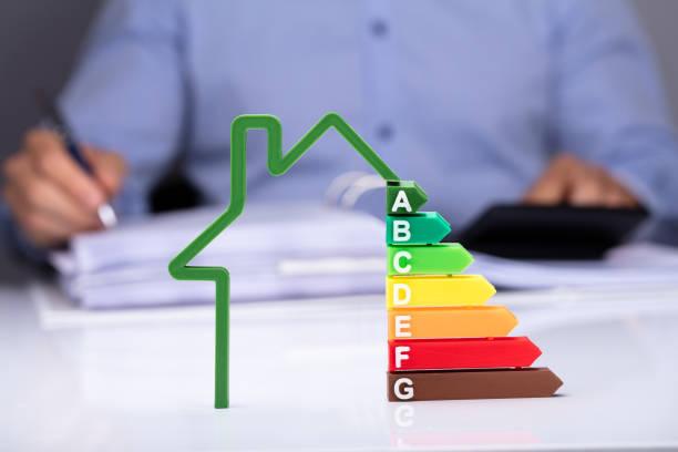 エネルギー効率の机の上の家 - エネルギー ストックフォトと画像