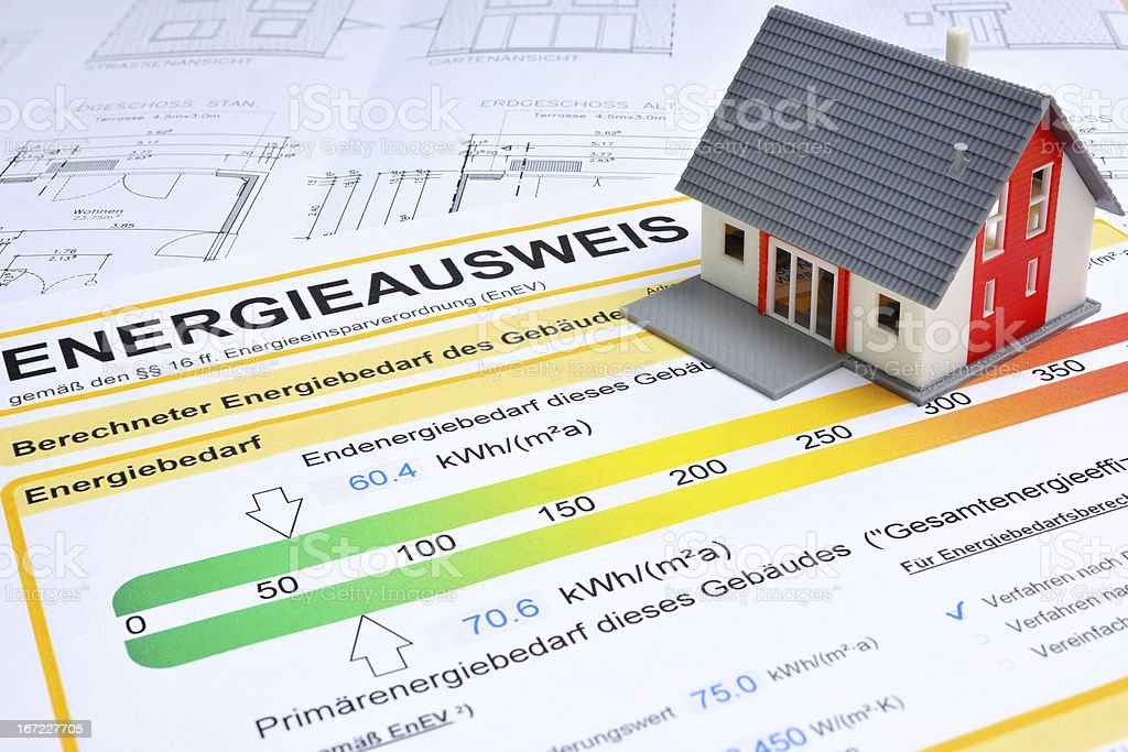 house with energy saving certificate royalty-free stock photo