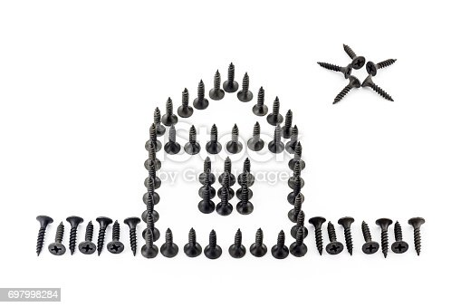 istock House with fence and star drawing with black Oxidized self-tapping screw isolated on white background 697998284