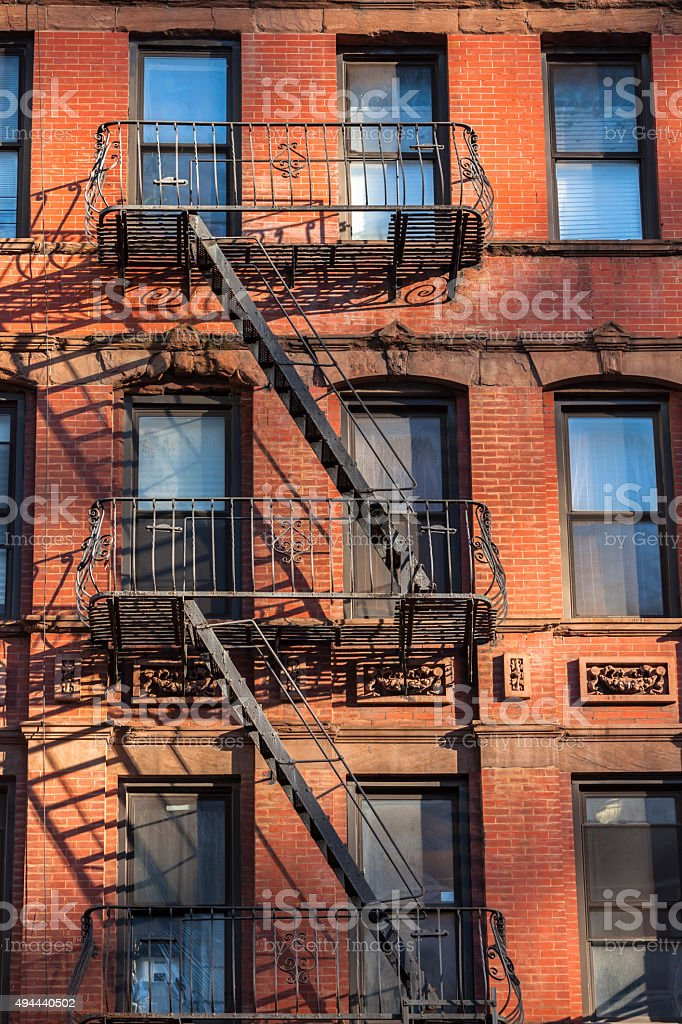 House With Fire Escape, Midtown Manhattan, New York stock photo