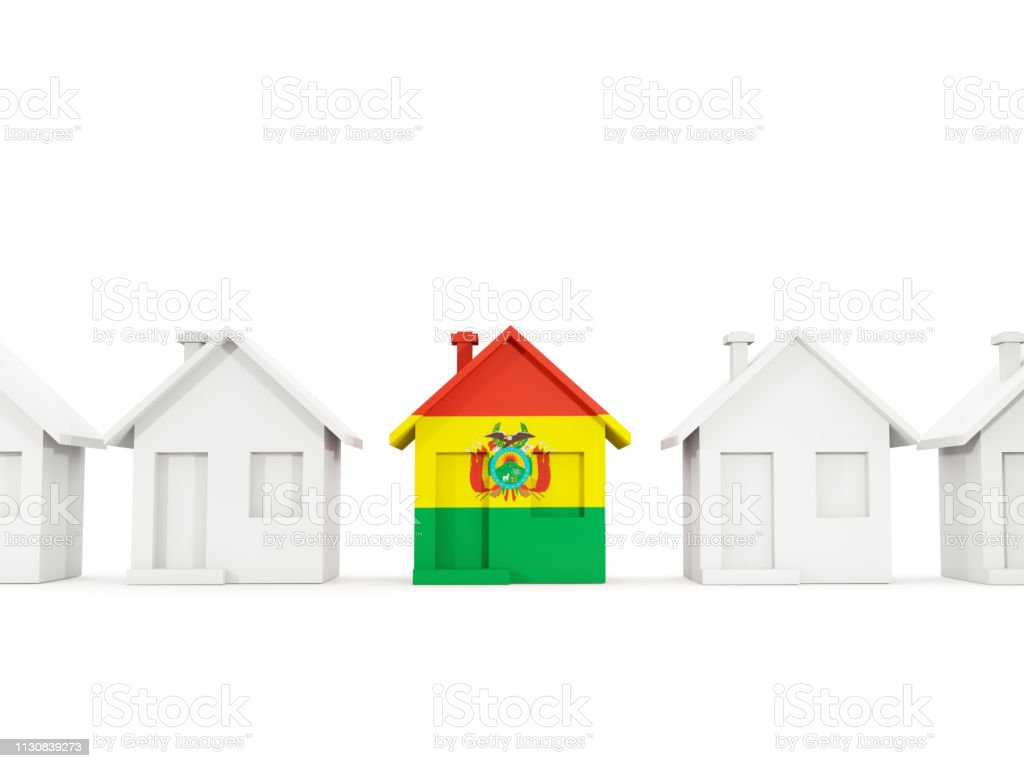 House with flag of bolivia stock photo