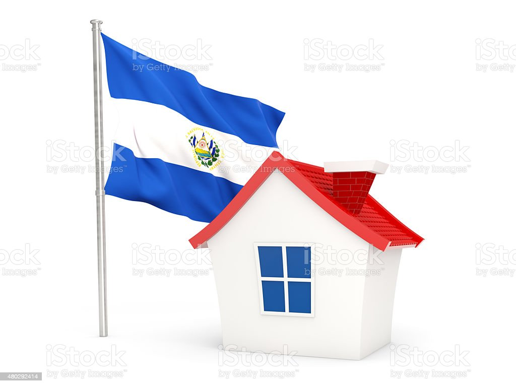 House with flag of el salvador stock photo