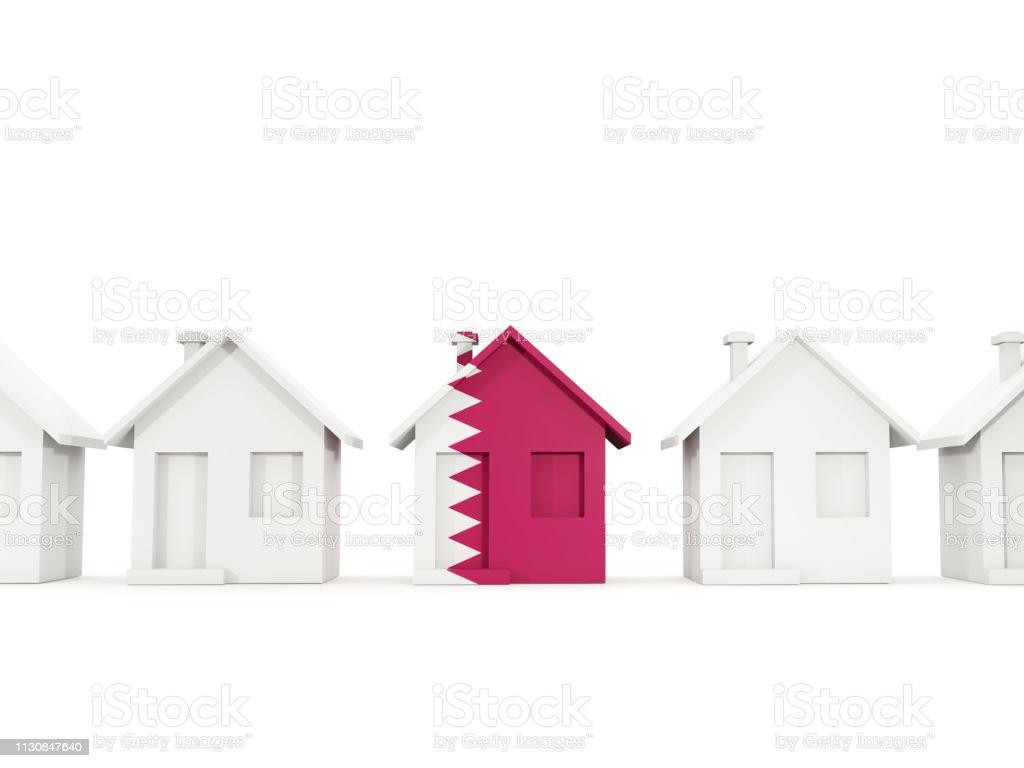 Casa con bandera de Qatar - foto de stock