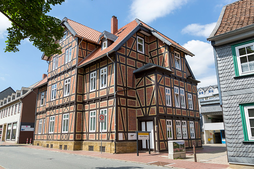 House with half-timbered construction technology in Goslar, Germany.