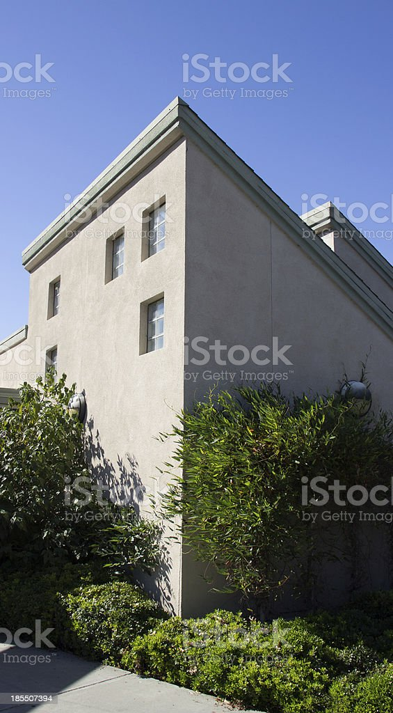 House with hard shades and blue sky royalty-free stock photo