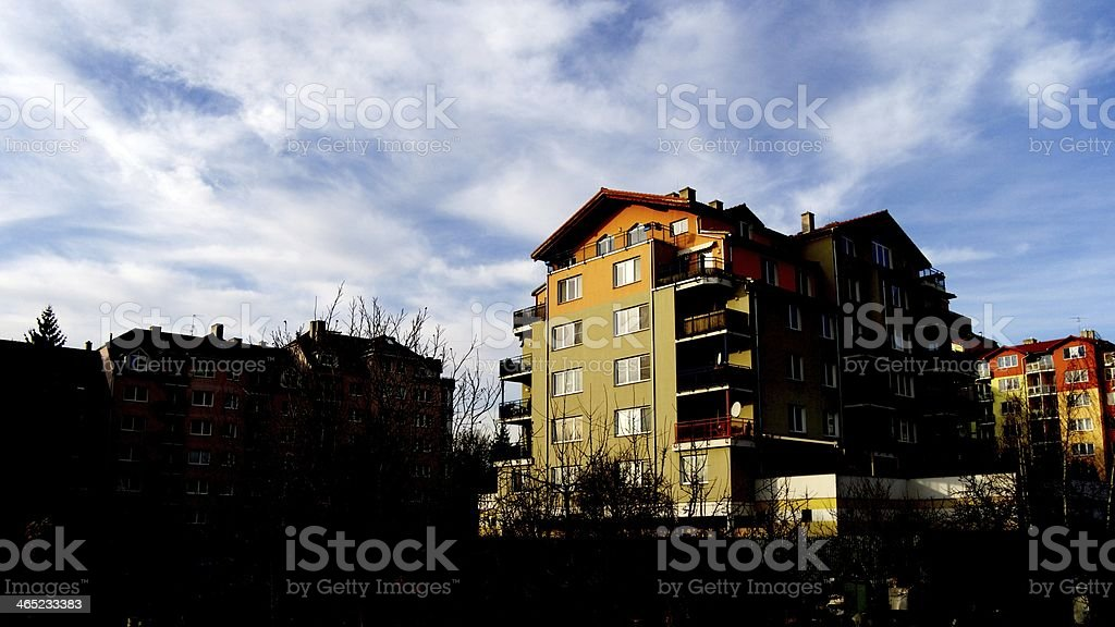 house with high contrast stock photo