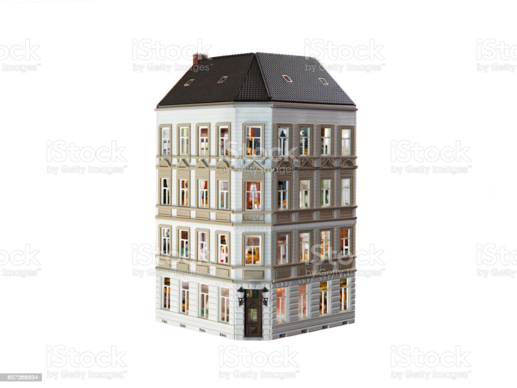 A house with many apartments. White background stock photo