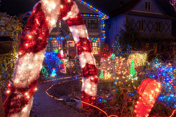 House with Many Colorful Christmas Lights stock photo