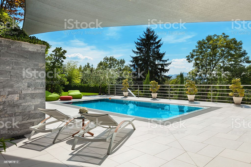 house with pool stock photo