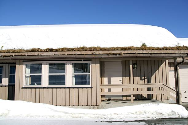 House with snowy roof stock photo