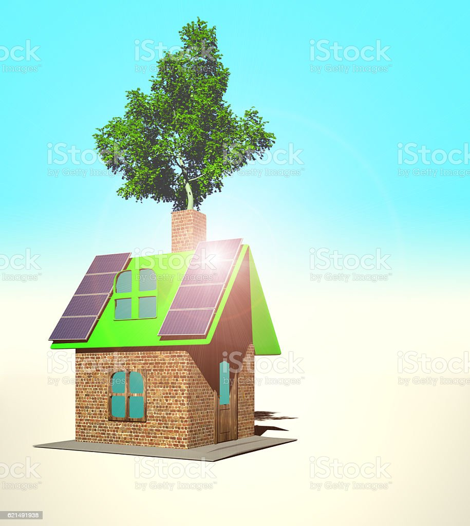 house with solar panels, 3d render foto stock royalty-free