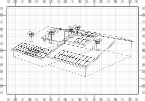 Haus mit Sonnenkollektoren - Blueprint – Foto