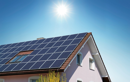 House With Solar Panels On The Roof Stock Photo Download