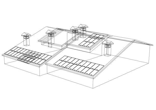 Haus mit Sonnenkollektoren – Foto