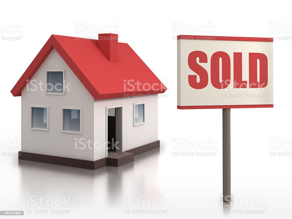 House with Sold sign - isolated w. clipping path stock photo