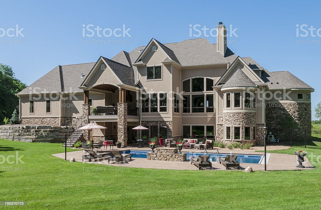 House with swimming pool with a clear blue sky royalty-free stock photo