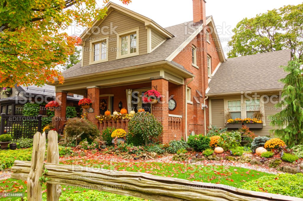 House with Thanksgiving decoration in Autumn stock photo