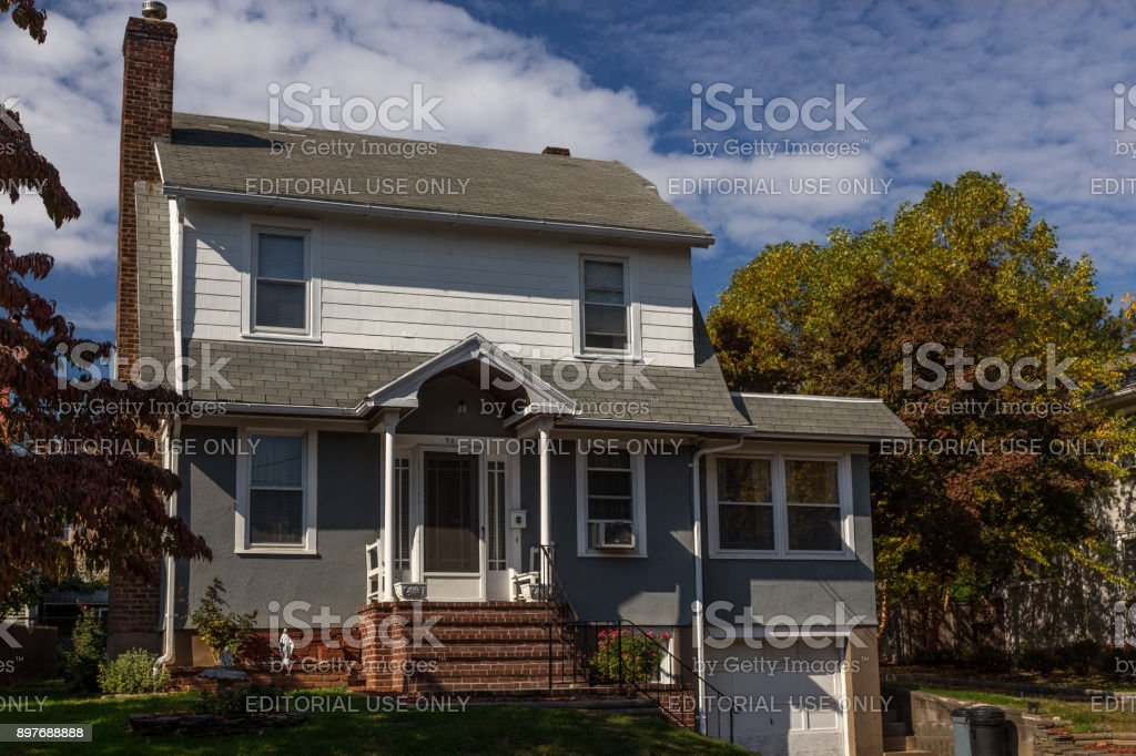 House With White Clapboard And Gray Stucco Exterior And Blue Sky, Nyack,  Rockland County