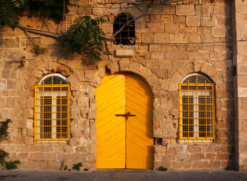 House With Yellow Door Stock Photo - Download Image Now