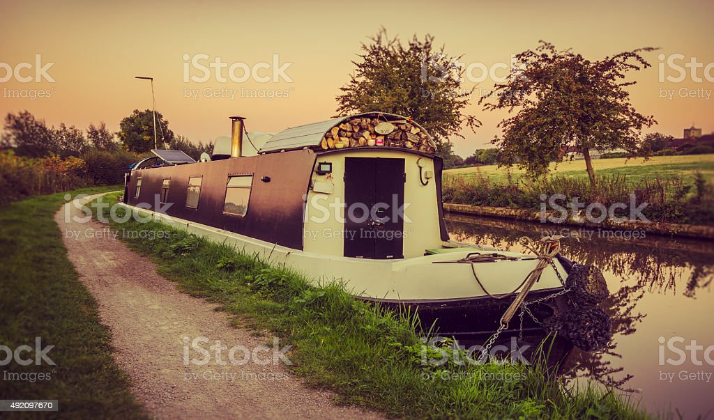 Houseboat, home for winter stock photo