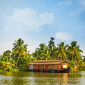 Moored Houseboat on Kerala backwaters - India