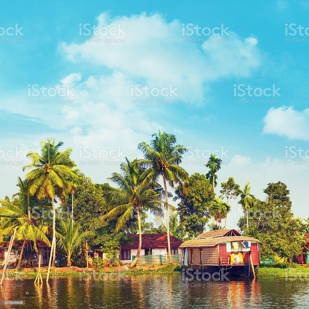 Houseboat in Kerala stock photo