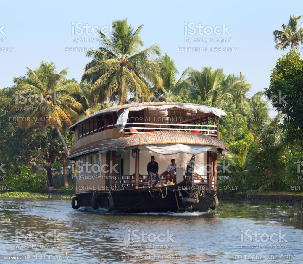 Houseboat on backwaters in Kerala, South India royalty-free stock photo