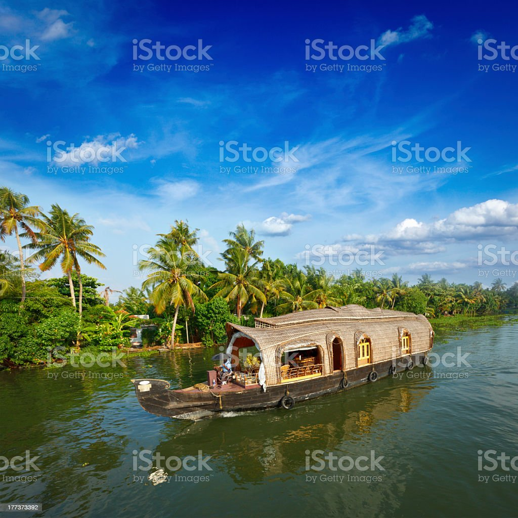 Houseboat on Kerala backwaters, India royalty-free stock photo