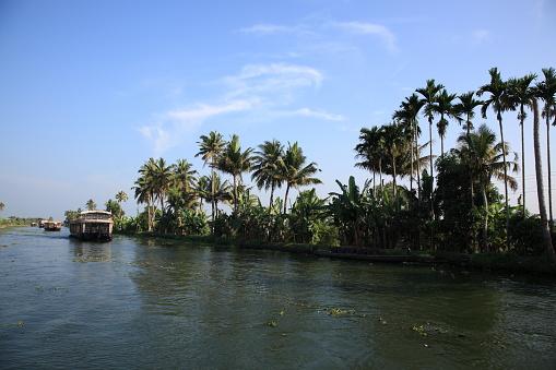 Houseboat on Kerala backwaters,alleppey, Kerala, India
