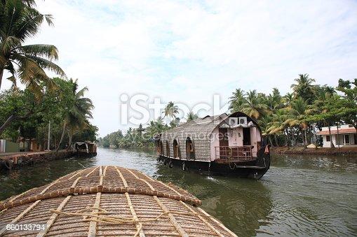 Houseboat on Kerala backwaters,in Kumarakom, Kerala, India