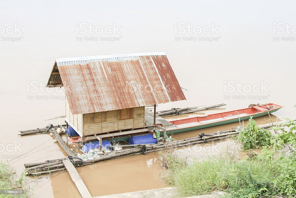 Houseboat on river of thailand royalty-free stock photo