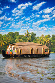 Houseboat on the Kerala Backwaters in India.