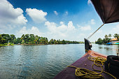 Houseboat on the Kerala Backwaters in South of India.