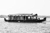 Houseboat on the Kerala Backwaters of Kerala, India.