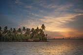 The houseboat on vembanad lake with coconut trees in the background and the amazing sunset makes this a perfect landscape and nature photo. The beautiful backwaters of Kerala truly justifies God's own country.