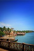 A typical view of a Kerala village ,shot from alappuzha featuring the back waters