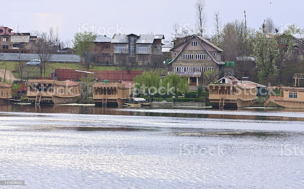 Houseboats, Dal Lake, Srinagar, Kashmir, India stock photo