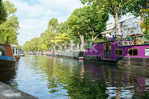 Houseboats in a canal river in London